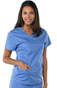 Clearance Avenue Scrubs Women's Antimicrobial Mock Wrap Solid Scrub Top