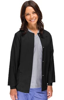 Clearance Avenue Scrubs Women's Antimicrobial Round Neck Solid Scrub Jacket