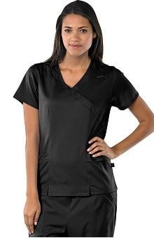 Clearance Avenue Scrubs Women's Antimicrobial Mock Wrap 2 Pocket Solid Scrub Top
