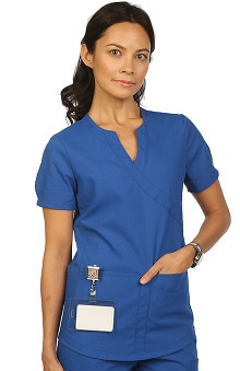 allheart proheart Basics Protected by VESTEX® Women's Modern Mock Wrap Solid Scrub Top