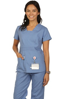 allheart proheart Basics Protected by VESTEX® Women's V-Neck with Modest Inset Solid Scrub Top