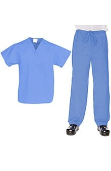 Allstar Uniforms Unisex V-Neck Top & Drawstring Pant Solid Scrub Set
