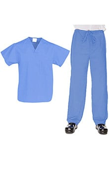 Allstar Uniforms Unisex V-Neck Top & Drawstring Pant Scrub Set