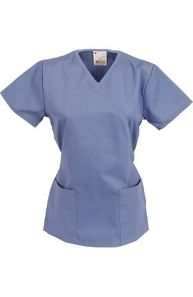 Allstar Uniforms Women's Mock Wrap Solid Scrub Top