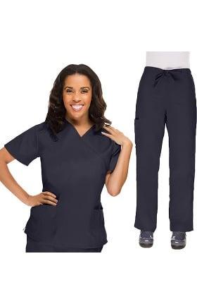 Allstar Uniforms Women's V-Neck Scrub Top & Drawstring Scrub Pant Set