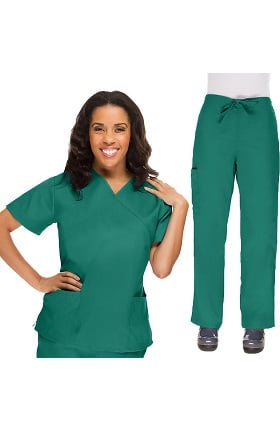 Allstar Uniforms Women's V-Neck Scrub Top & Drawstring Scrub Pant Set