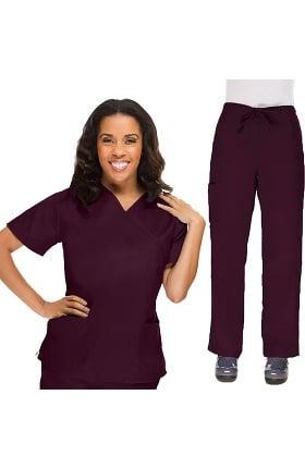 Clearance Allstar Uniforms Women's V-Neck Scrub Top & Drawstring Scrub Pant Set