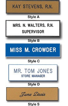 accessories: Engraved Laminated Plastic Name Tags Pin