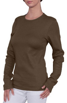 Clearance Branded Bull Women's  Long Sleeve Baby Rib Knit Underscrub