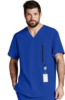 Barco One™ Men's V-Neck Zip Pocket Solid Scrub Top