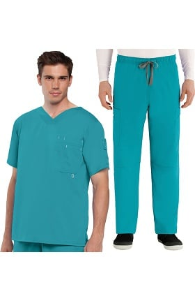 Grey's Anatomy™ Men's Open V-Neck Top & Elastic Waist Pant Scrub Set