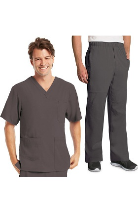 KD110 Men's Lapover V-Neck Top & Elastic Waist Pant Scrub Set