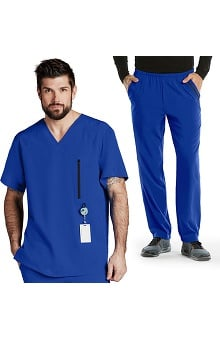Barco One™ Men's Raglan V-Neck Top & Athletic Jogging Pant Scrub Set