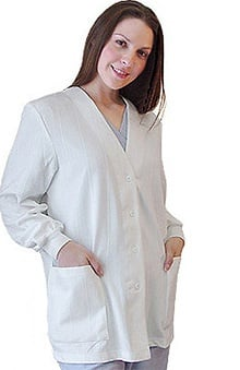 Lab Coats by Barco Uniforms Women's White Button-Front Knit Warm Up Solid Scrub Jacket