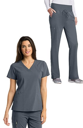 Barco One™ Women's V-Neck Solid Scrub Top & Flare Leg Knit Waist Cargo Scrub Pant Set