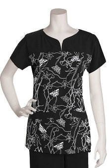 Clearance Signature by Grey's Anatomy™ Women's Notch Neck Soleil Black Print Top