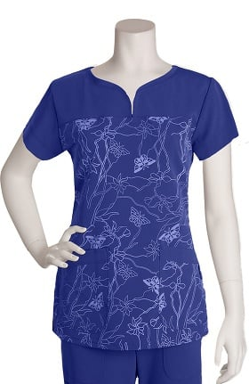 Clearance Signature by Grey's Anatomy™ Women's Notch Neck Soleil Peri Print Top