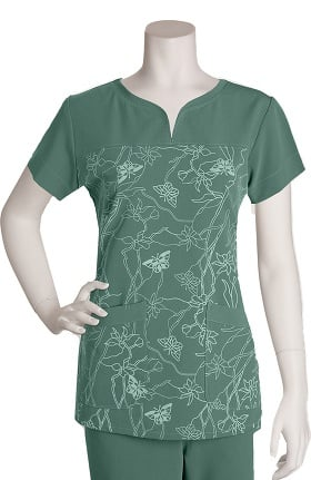 Clearance Signature by Grey's Anatomy™ Women's Notch Neck Soleil Sage Print Top