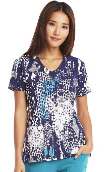 Clearance Signature By Grey's Anatomy™ Women's V-Neck Abstract Print Scrub Top