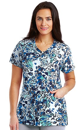 Clearance Signature by Grey's Anatomy™ Women's V-Neck Animal Print Scrub Top