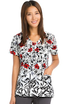 Clearance Signature By Grey's Anatomy™ Women's V-Neck Floral Print Scrub Top