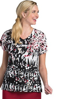 Signature by Grey's Anatomy™ Women's V-Neck Abstract Print Scrub Top