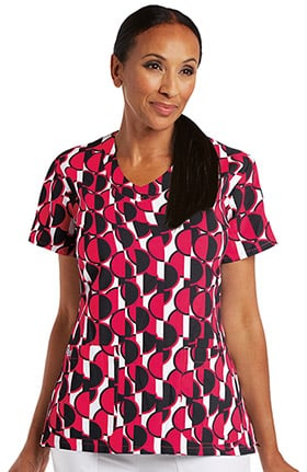 Signature by Grey's Anatomy™ Women's V-Neck Geometric Print Scrub Top