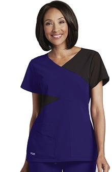 Signature by Grey's Anatomy™ Women's Mock Wrap Colorblock Solid Scrub Top