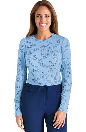Clearance Signature by Grey's Anatomy™ Women's Long Sleeve Bailey Blue Indigo Print T-Shirt