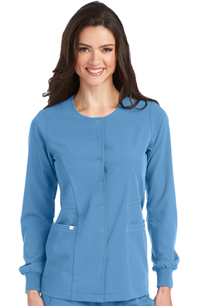 Signature by Grey's Anatomy™ Women's 2 Pocket Snap Front Solid Scrub Jacket