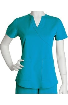 sale: NRG by Barco Uniforms Women's Junior Mock Wrap Solid Scrub Top