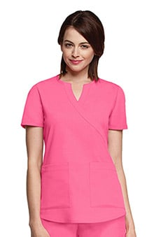 NRG by Barco Uniforms Women's Junior Mock Wrap Solid Scrub Top