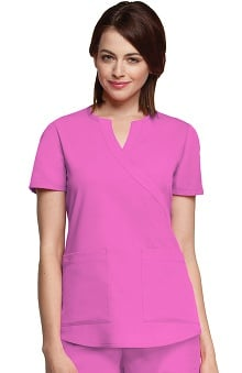 Clearance NRG by Barco Uniforms Women's Junior Mock Wrap Solid Scrub Top