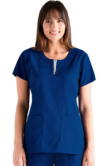 NRG by Barco Uniforms Women's Round Neck Zip Front Solid Scrub Top