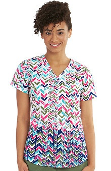 Nrg by Barco Uniforms Women's V-Neck Chevron Print Scrub Top