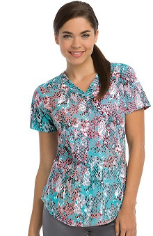 NRG By Barco Uniforms Women's V-Neck Animal Print Scrub Top