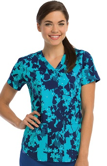 NRG By Barco Uniforms Women's V-Neck Floral Print Scrub Top