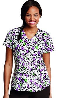 NRG by Barco Uniforms Women's Side Panel V-Neck Animal Print Scrub Top