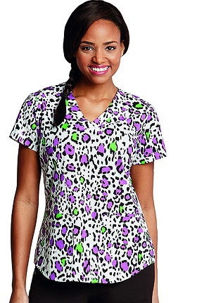 Clearance NRG by Barco Uniforms Women's Side Panel V-Neck Animal Print Scrub Top