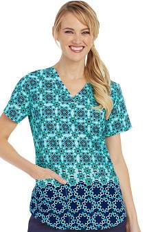 Nrg by Barco Uniforms Women's V-Neck Star Print Scrub Top