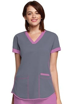 NRG by Barco Uniforms Women's Contrast Squared V-Neck Solid Scrub Top