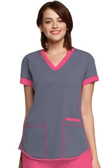 Clearance NRG by Barco Uniforms Women's Contrast Squared V-Neck Solid Scrub Top