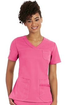 NRG by Barco Uniforms Women's Sporty V-Neck Solid Scrub Top