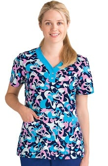 Clearance NRG by Barco Uniforms Women's V-Neck Abstract Print Scrub Top