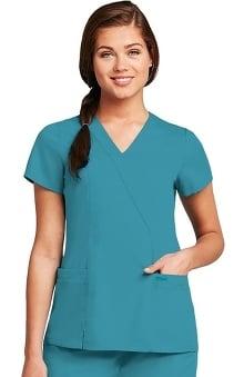 sale: Grey's Anatomy Women's Junior Wrap with Princess Seams Solid Scrub Top