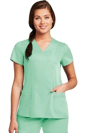 Clearance Grey's Anatomy™ Women's Wrap with Princess Seams Solid Scrub Top