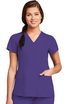 Clearance Grey's Anatomy™ Women's Junior Wrap with Princess Seams Solid Scrub Top
