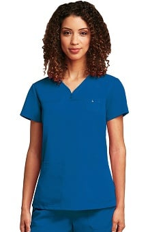 Grey's Anatomy™ Women's Junior  Detailed V-Neck Solid Scrub Top