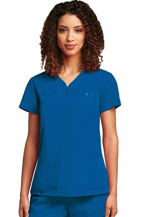 Grey's Anatomy™ Women's  Detailed V-Neck Solid Scrub Top