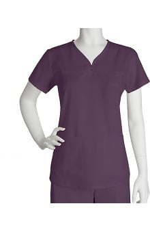 Clearance Grey's Anatomy™ Women's Junior  Detailed V-Neck Solid Scrub Top